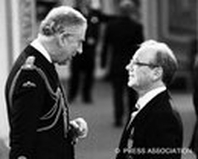 Receiving the MBE from HRH Prince Charles